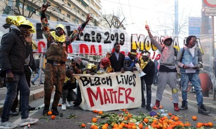 A demonstration in Milan against interior minister Matteo Salvini's migration policies