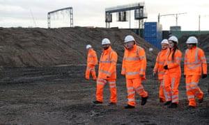 Boris Johnson visits HS2 construction site at Curzon Street railway station in Birmingham.