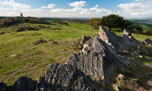 A jagged volcanic Cambrian rock outcrop on Beacon Hill, Charnwood Forest in Leicestershire.