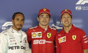 Lewis Hamilton and Sebastian Vettel flank Charles Leclerc after the Monegasque took pole ahead of the Briton and the German