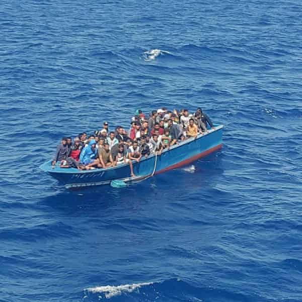 The migrants were rescued from a small vessel by an Egyptian tugboat