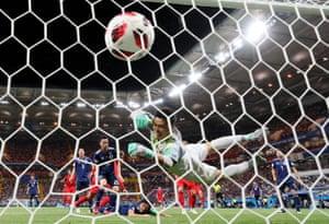 Marouane Fellaini came off the bench to score Belgium's second goal past Japan's goalkeeper Eiji Kawashima to help Belgium win 3-2 at the Rostov Arena.