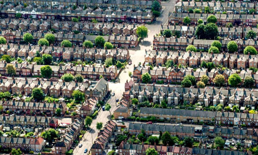 Aerial view of houses