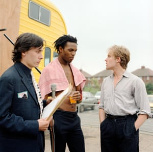 Dave Wakeling and Ranking Roger with Jools Holland during filming of Channel 4's The Tube in Gateshead in 1982
