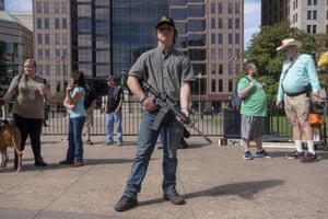 Gun owners and second amendment supporters gather at the Ohio Statehouse in Columbus to protest gun control legislation proposed by Ohio governor Mike DeWine