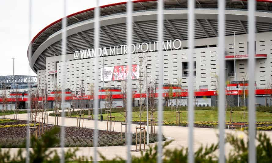 The Wanda Metropolitano stadium, home of Atlético Madrid, which has been closed since the middle of March. La Liga aims to resume matches in mid-June.