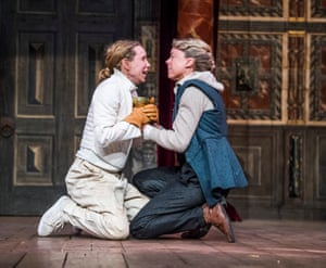 Michelle Terry as Hamlet with Catrin Aaron as Horatio in Hamlet at Shakespeare's Globe in 2018.