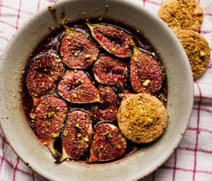 Figs with pistachio biscuits by Nigel Slater.