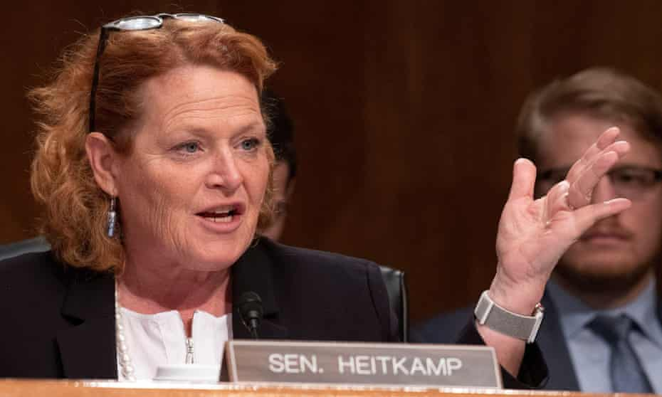 """US Senate Committee on Homeland Security and Governmental Affairs hearing, Washington DC, USA - 10 Oct 2018Mandatory Credit: Photo by REX/Shutterstock (9921716v) United States Senator Heidi Heitkamp (Democrat of North Dakota) questions witnesses as they give testimony before the US Senate Committee on Homeland Security and Governmental Affairs during a hearing titled """"Threats to the Homeland"""" on Capitol Hill in Washington, DC. US Senate Committee on Homeland Security and Governmental Affairs hearing, Washington DC, USA - 10 Oct 2018"""