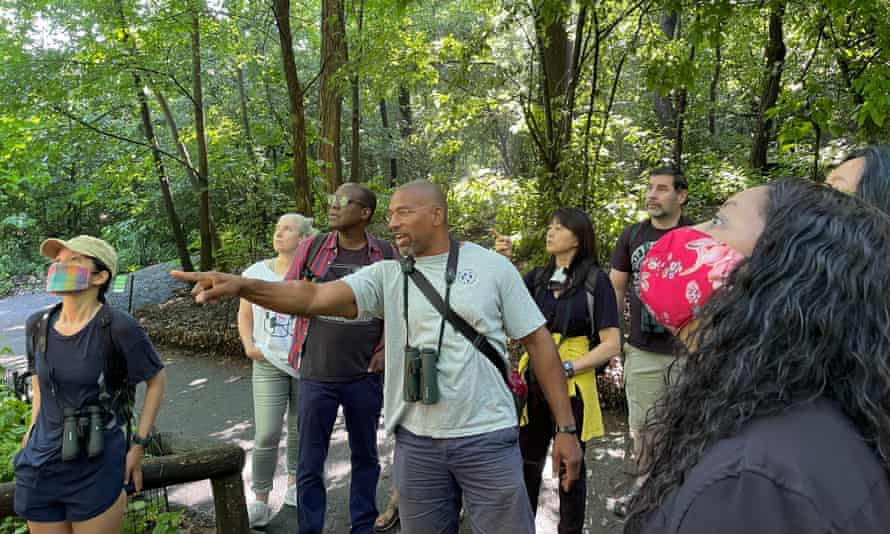 A bird walk led by Christian Cooper in celebration of Black Birders Week, in Central Park, New York.