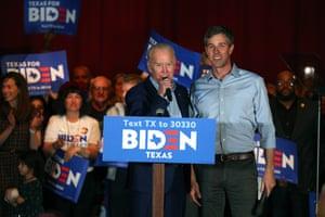 Beto O'Rourke, right, former Texas representative, endorses Joe Biden, Democratic presidential candidate, at a Texas rally on 2 March.