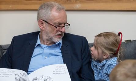 Jeremy Corbyn at the Brentry children's centre, Bristol.