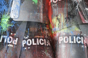 Police shields covered in paint thrown by protesting students in Bogota, Colombia.