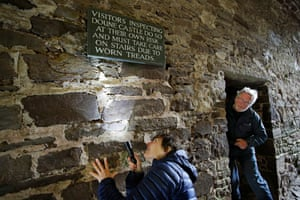 Anne Youngman spots a bat sleeping in a crevice behind a sign at the Castle.The pictures here were taken within a licence and under supervision