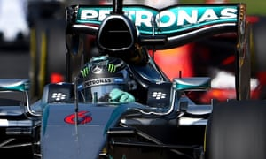 Nico Rosberg putting pressure on Lewis Hamilton.