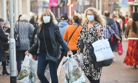 Shoppers in Ipswich the day before new Covid-19 restrictions came into force across England.