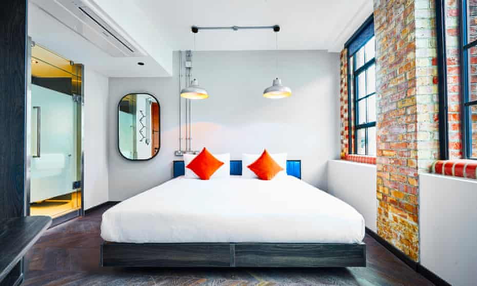 A bedroom at the former factory which is now the New Road Hotel, Whitechapel, London