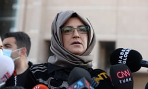 Hatice Cengi, Jamal Khashoggi's fiancee and plaintiff, speaks to reporters after the trial of 26 Saudi nationals in Istanbul.