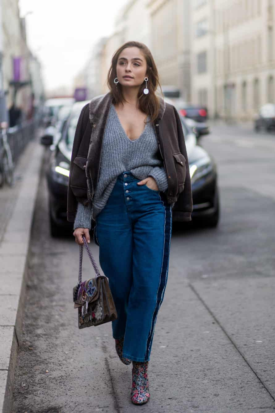German model Sofia Tsakiridou at the Mercedes-Benz fashion week in Berlin 2017, demonstrates the smug tuck