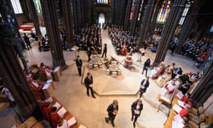 School children attend a commemoration service at Manchester Cathedral marking the 100th anniversary since the start of the Battle of the Somme.