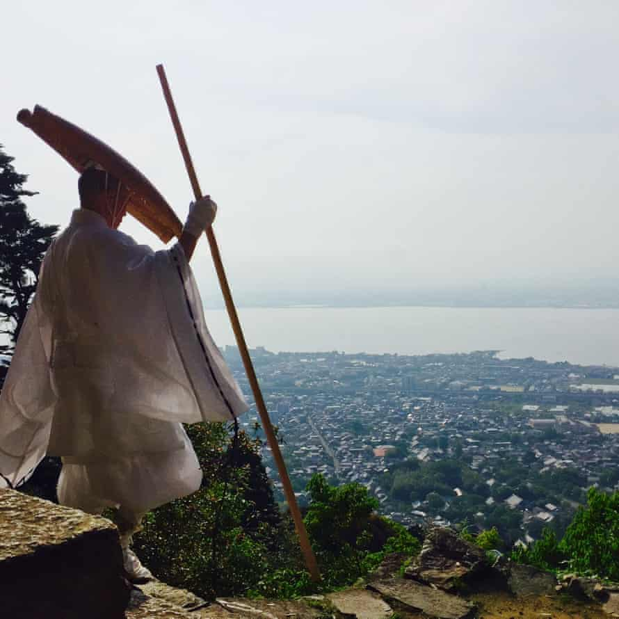 A Buddhist monk descends the mountain in Mount Hiei, Japan