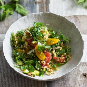 Greg and Lucy Malouf's vegan fregola with courgette, citrus and basil.