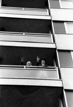 The McCambridges, a retired couple who were the only former tenants who wanted to return, once the building was rebuilt using strengthened joints. April 1973.