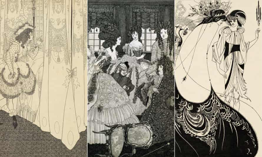 The Dream (1896), The Battle of the Beaux and Belles (1896) and The Peacock Skirt (1893) by Aubrey Beardsley.