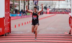 Callum Hawkins finishes the London Marathon