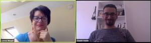 Louisa Waugh Ghaith Alhallak on an online class