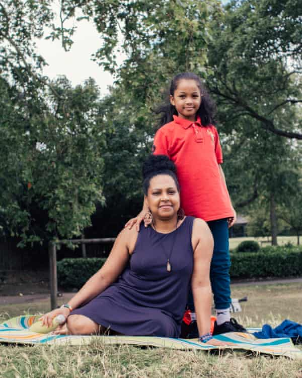 'We've been having more conversations with people': Jasmine Telesford with Jordan, 9 in Springfield Park, Hackney.