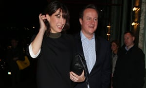 David and Samantha Cameron outside Mayfair restaurant Sexy Fish after Rupert Murdoch's Christmas bash.