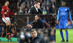Premier League Talking Points L-R: Zlatan Ibrahimovic celebrates scoring against Liverpool, Hull's new manager Marco Silva has some thinking to do, as does Swansea's Paul Clement and Palace's Sam Allardyce. Leicester City's new signing Wilfred Ndidi.