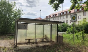 Nature reclaims a bus stop once used to ferry soldiers around the Patton Barracks.