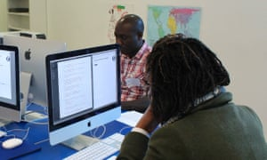 Delegates create their own Guardian news quiz using JavaScript in an Education Centre workshop.