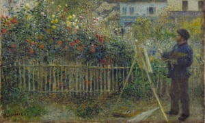 A detail of Monet Painting in His Garden at Argenteuil, 1873, by Auguste Renoir.