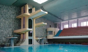 Diving pool in the Changgwang Health and Recreation Complex, Pyongyang, 1981-6- complete with mechanical elevator to access the upper boards