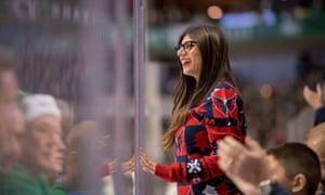 Mia Khalifa at a hockey game in Dallas in 2017.