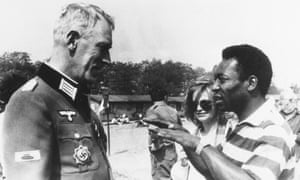 Max von Sydow chats with Pele on the set of Escape to Victory, 1981