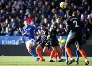 Leicester City's Harvey Barnes (left) scores his side's equaliser.