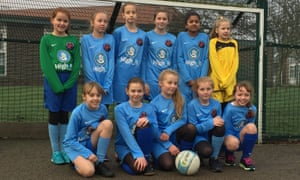 Members of the girls' football team at Lumley junior school near Chester-Le-Street.