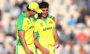 Australia's Marcus Stoinis celebrates taking the wicket of England's Liam Plunkett