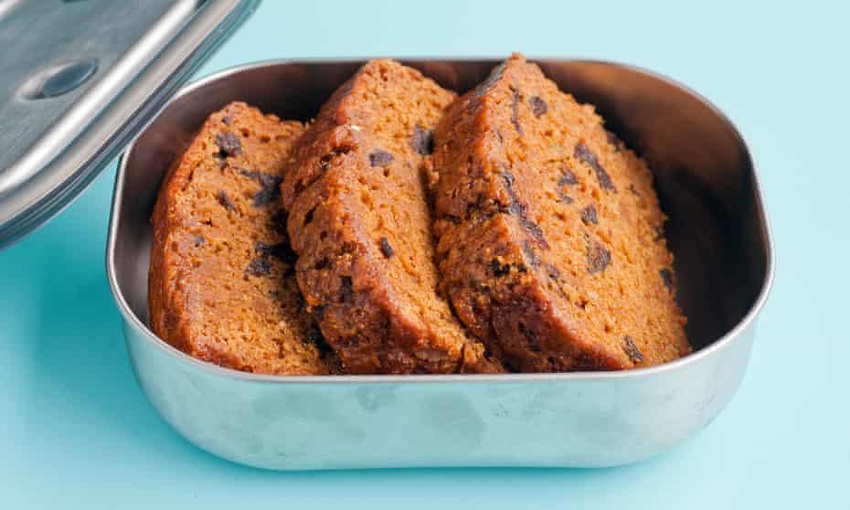 Sweet potato malt loaf, in a stainless steel lunchbox by Black+Blum.