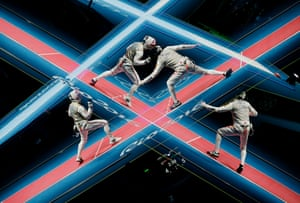 A double exposure during the Great Britain v China team foil fencing match for 5th place at the Barra Olympic Park during day seven of the 2016 Olympics in Rio de Janiero