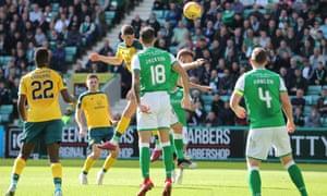 Striker Ryan Christie scores for Celtic against Hibernian.