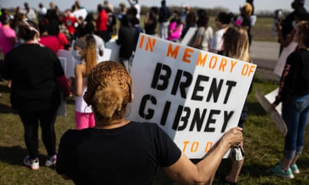 Protesters gather at a rally over conditions inside the Marion Correctional Institution in Marion, Ohio, on 2 May.