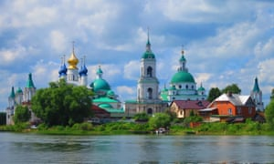 The city of Yaroslavl, as seen from the river Volga, which flows through it.