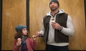 Hard pecs, soft heart … Dave Bautista with Chloe Coleman in My Spy.