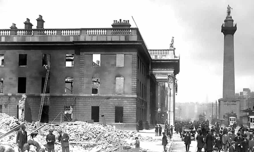 The General Post Office shortly after the Easter Rising, April 1916.