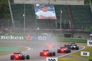 A picture of Ayrton Senna is seen in the stands